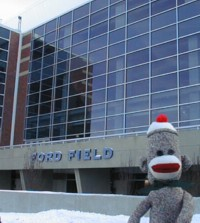 sock monkey at Ford Field